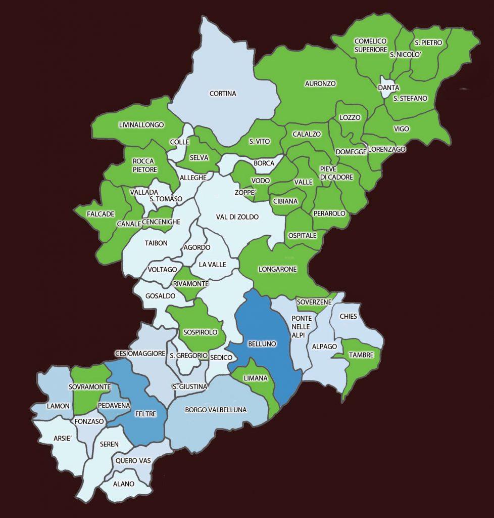 Cartina Dolomiti Bellunesi.Ecco Dov E La Nuova Mappa Del Coronavirus In Provincia Di Belluno