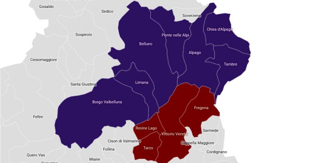 Cartina Veneto Comuni.Soltanto 11 Comuni Veneti Su 563 Sono Ad Alto Rischio Di Terremoto 7 Sono Bellunesi