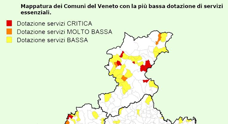 Cartina Veneto Comuni.Bassa Dotazione Di Servizi In 115 Comuni Veneti Tra Cui 27 Bellunesi